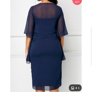 438ae86dc8a Rotita Dresses - Rotita dark blue fitted dress with sheer top